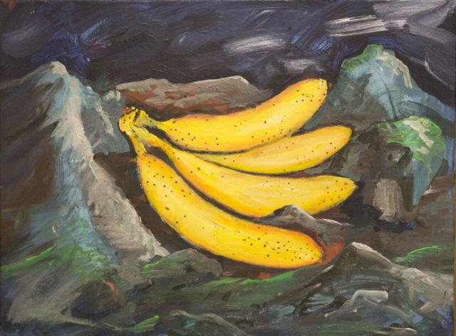 Federico Luger, Head banana think, 2016, oil on canvas, cm 33x43,5