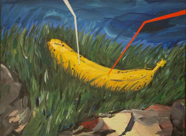 Federico Luger, En el campo, 2016, oil on canvas, cm 33x43,5