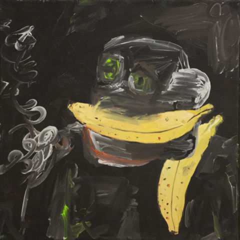 Federico Luger, Autoritratto parlando al telefono, 2016, oil on canvas, cm 43x43