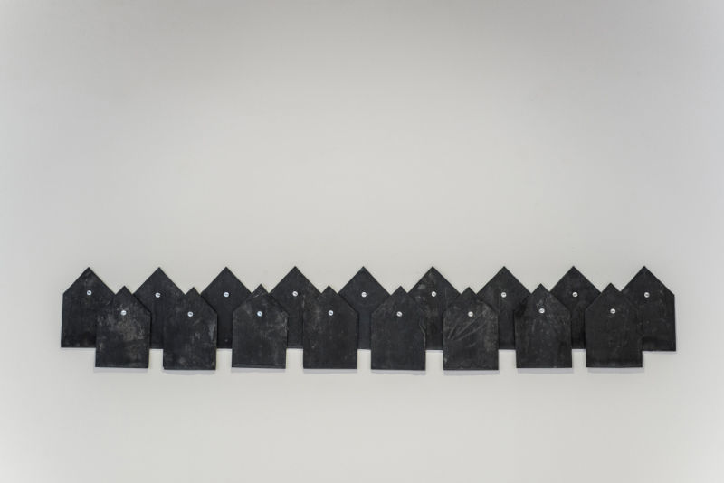 Gema Rupérez, Not Found, 2015, slate and nails with engraving, 16×10 cm cad