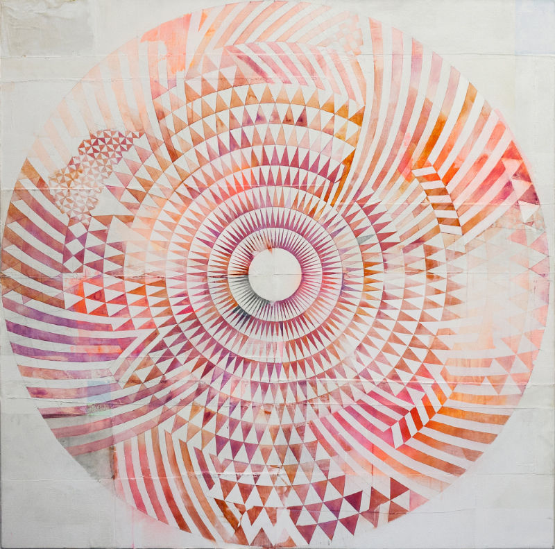 Michael Conrads, Vortex painting (square/red), 2015, watercolor, acrylics, oil, spray paint on mixed media, 160x160 cm