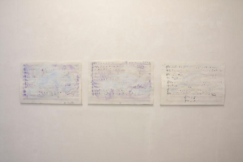 Remijon Pronja, Untitled in allegro moderato, 2015, musical scores, watercolor, cm 45×67 cad.