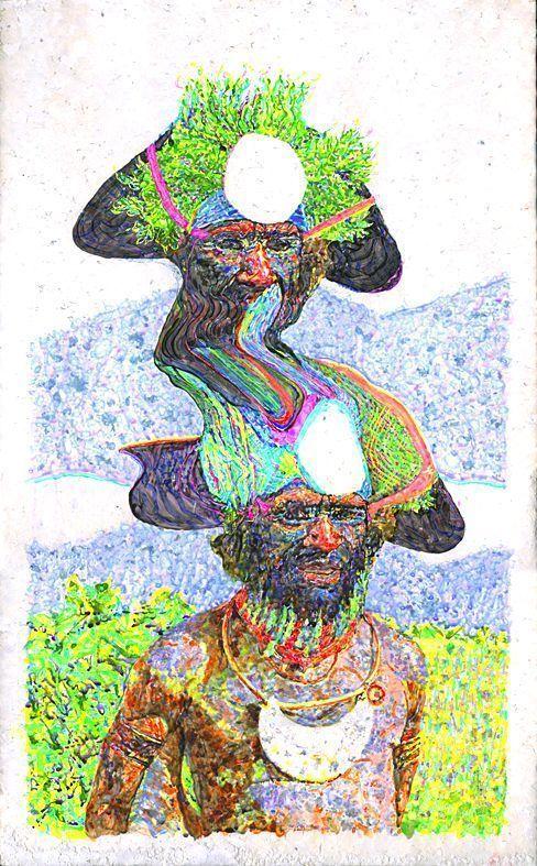 Alejandro Bombín, Contaminante, 2015, acrylic on handmade paper, 93x48 cm